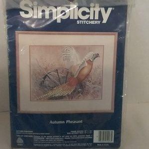 Vintage Simplicity Stitchery Kit Autumn Pheasant